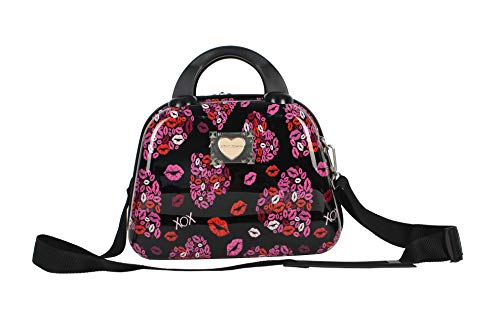 Betsey Johnson Hardside Cosmetic Case - Lightweight Small Size Hardshell Travel Hand Makeup Bag - Adjustable Shoulder Strap - Bag for Women and Girls - Multi-Functional Case (Lips XOXO)