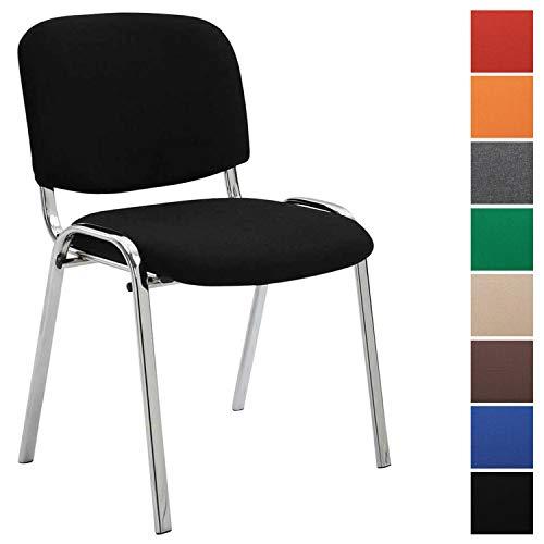 Konferenzstuhl Ken Chrom mit hochwertiger Polsterung und Stoffbezug I Stapelstuhl mit robustem Metallgestell in Chromoptik, Farbe:schwarz