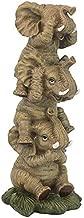 Design Toscano Non sento, non vedo e non dico male Elefanti impilati Statuette da collezione, poliresina, a colori, 25,5 cm