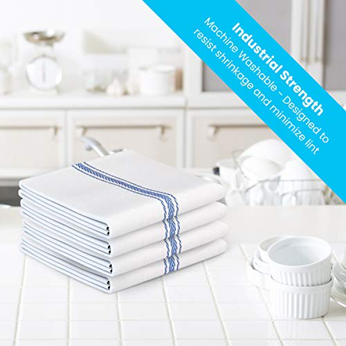 "Zeppoli Classic Kitchen Towels 15-Pack - 100% Natural Cotton Dish Towels - Reusable Cleaning Cloths - Super Absorbent - Machine Washable Hand Towels - 14"" x 25"""