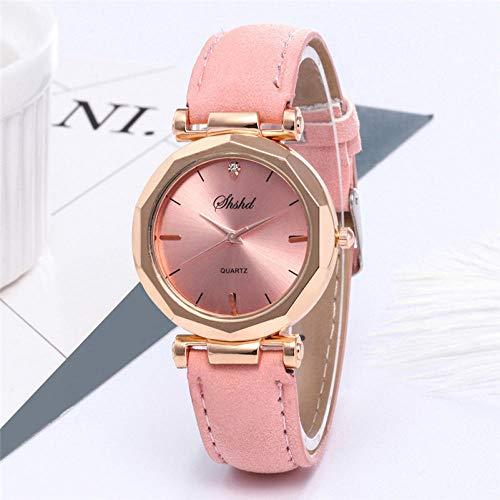 Moda Mujer Cuero Casual Reloj Analógico Cuarzo Cristal Reloj De Pulsera Cielo Imán Hebilla Casual Mujer Mujer Hombre@Rosado