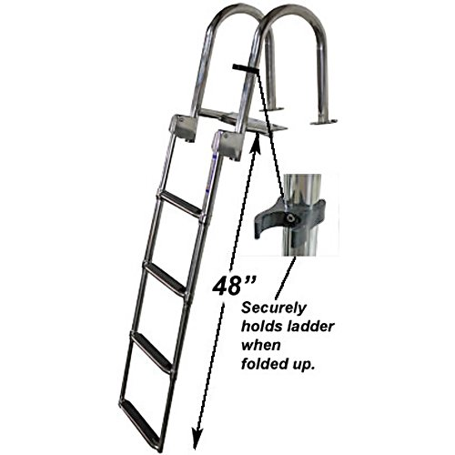 RecPro Marine 4 Step Heavy Duty OEM Grade Rear Entry Pontoon Boat Ladder W/HANDRAILS 316 Stainless...