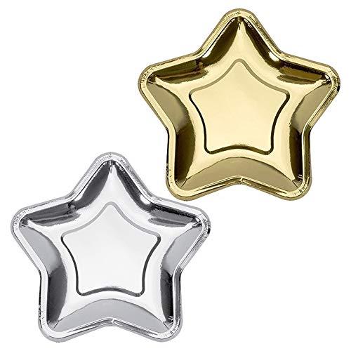 Kuinayouyi 20 Piezas Estrella de Plata Dorada Juego de Vajilla Desechable Plato de Papel Desechable para Bodas CumpleaaOs DecoracióN Suministros para Fiestas