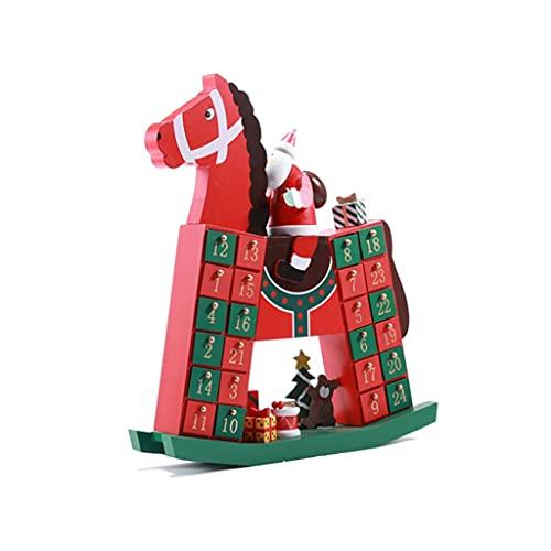 JJH Calendario de Adviento de Madera 24 Días, Caja de Regalo Rocking Horse Desktop Ornament, Calendarios de la Cuenta Regresiva de Navidad 2021 for niños Niñas Chicos