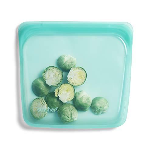 Stasher Platinum Silicone Food Grade Reusable Storage Bag,Aqua (Sandwich) | Reduce Single-Use Plastic | Cook, Store, Sous Vide, or Freeze | Leakproof, Dishwasher-Safe, Eco-friendly |28 Oz