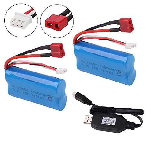 Crazepony-UK 2PCS 7.4V Battery 1500mAh 15C Akku with USB Charger for WLtoys 4WD Rc Cars 12403 12401 12402 12404 12428 Spare Part Replacement