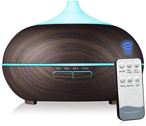 HYLL 550ml difusor eléctrico Esencial frío de Aceite de Niebla humidificador ultrasónico purificador de Aire 7 Colores del LED con el Temporizador (Cepillado Oscuro)