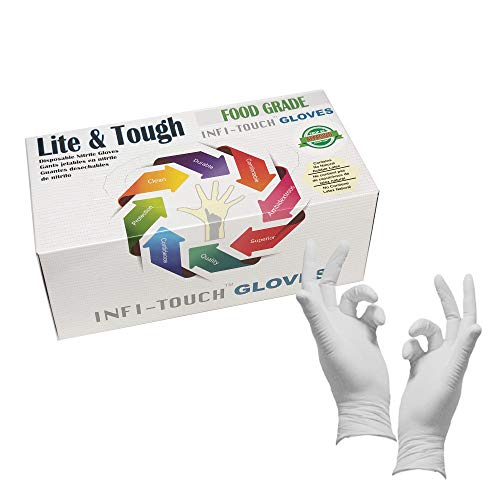 Infi-Touch - Food Safe -Lite Duty Nitrile Gloves, Lite & Tough, Disposable Gloves, Powder-Free, Non Sterile, Ambidextrous, Finger Tip Textured, (250, Small)