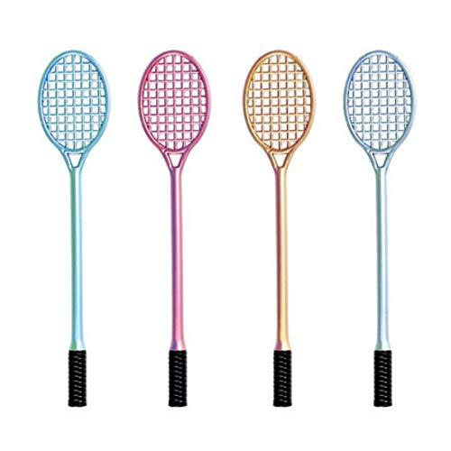 4PCS Novelty Cute Badminton Schläger Gel-Tinte Stift geformt Liebenswürdig, Tennisschläger Stifte 0,5mm FINE POINT Kreatives Schreiben Werkzeuge