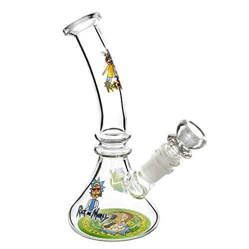 The7boX Pequeños tubos de agua de reciclador de vidrio Bong de 14 mm de dibujos animados Beaker Bongs