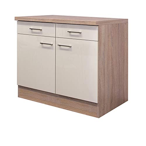 Flex-Well Unterschrank NEPAL - Küchenschrank - 2-türig - 2 Schubladen - Breite 100 cm - Creme glänzend/Eiche Sonoma