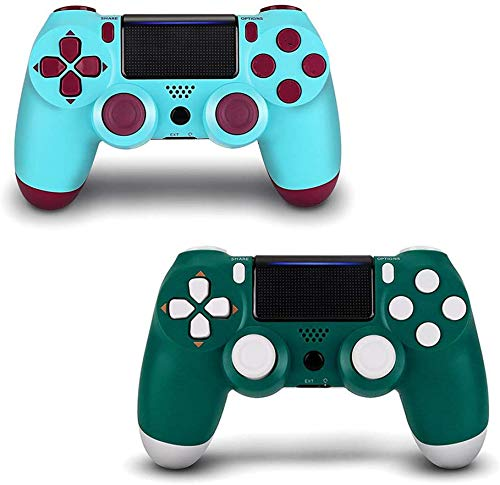 2 Pack Wireless Controller for PS4 - YU33 Remote Joystick for Sony Playstation 4 with Charging Cable (Alpine Green + Berry Blue, New Model