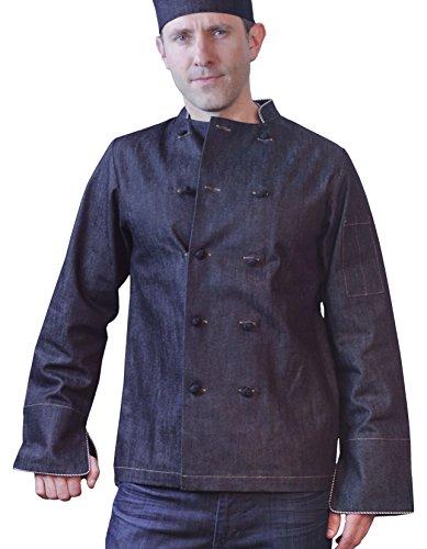 ASD Living Dylan Vintage Denim Long Sleeve Chef Coat, Medium, Blue