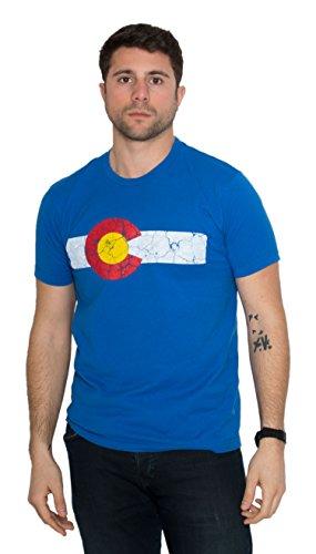 Colorado State Flag Distressed Unisex T-Shirt/Vintage Look CO Denver Tee-Blue-X-Large