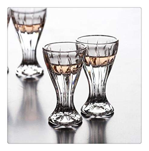 Yousiju Juego de 2 Piezas de Vino Copa de Cristal Copa de Vino Blanco Copa de Licor Copa de Vino pequeña con pies un Vaso de Vidrio Rayado