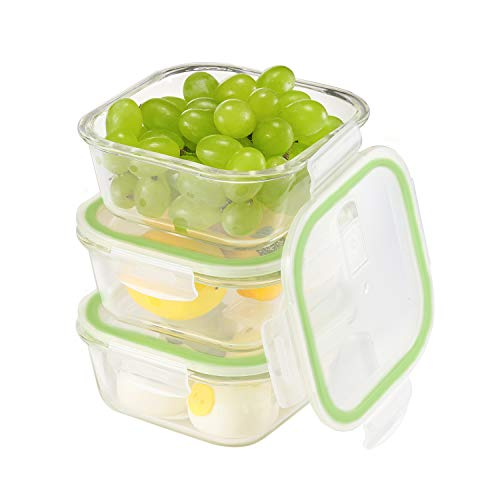 Aibeide Glass Food Storage Containers 3 Piece(27 Oz) with Snap Locking Lids,Airtight Glass Lunch Box Container, Carry LeakProof Glass Meal Prep Containers, Freezer,Microwave, Oven Safe Food Containers