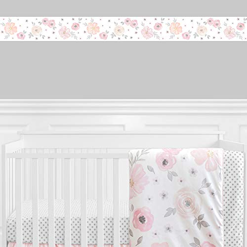 Blush Pink, Grey and White Wallpaper Wall Border for Watercolor Floral Collection by Sweet Jojo Designs