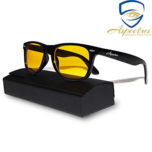 Aspectus Blue Light Blocking Glasses | Premium Gamer & Computer Eyewear | Anti-Blue Light Lenses for Deep Sleep & Relaxation | Relief Migraine Headaches Insomnia | Anti Glare Glasses | Men & Women
