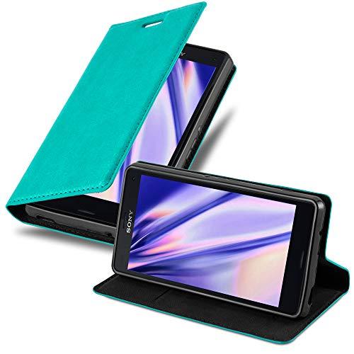 Cadorabo Hülle für Sony Xperia Z3 COMPACT - Hülle in Petrol TÜRKIS – Handyhülle mit Magnetverschluss, Standfunktion und Kartenfach - Case Cover Schutzhülle Etui Tasche Book Klapp Style