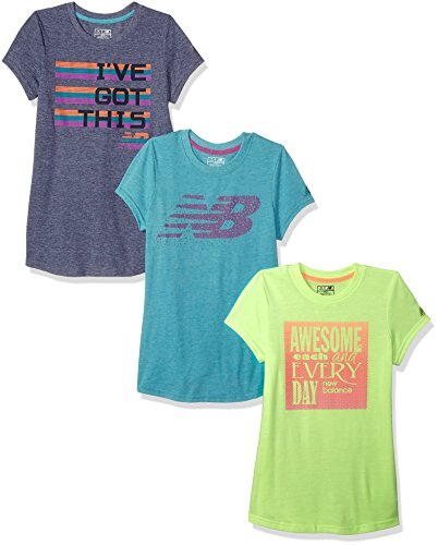New Balance Big Girls' 3 Pack Graphic Tee, Heather/Lime/Pisces, 14