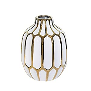 """Silk Flower Arrangements Sagebrook Home 12540-04 Ceramic Vase 8"""", White/Gold, 5.75 x 5.75 x 8 inches"""
