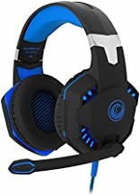 FHP-G1420B Comfortable Professional 7.1 Stereo Surround Sound Haptic Feedback Headphones w/ LED lighting, Boom Mic, In-Line Audio Controller & USB Powered for Gaming Laptops or Computers
