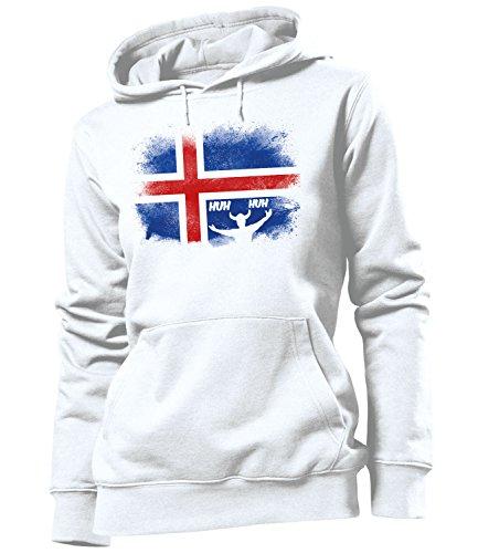 Golebros Island Iceland Fussball Fußball Trikot Look Jersey fanhoodie Damen Frauen Hoodie Pulli Sweatshirt Kapuzen Pullover Fan Fanartikel Outfit Bekleidung Oberteil Artikel