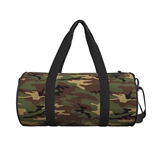 Borsone rotondo da palestra, con glitter, motivo bosco mimetico, piccolo effetto, borsa da yoga, borsa a tracolla per weekend da viaggio, borsa da viaggio per uomini e donne