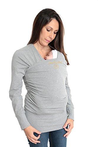 Camiseta de Porteo | PREMIUM |Camiseta Portabebés | Anticólicos | Amarsupiel | Fabricado en UE | Textil Seguro Certificado Oekotex | Portabebé Inovador| Manga larga Talla M(40-42) Color gris