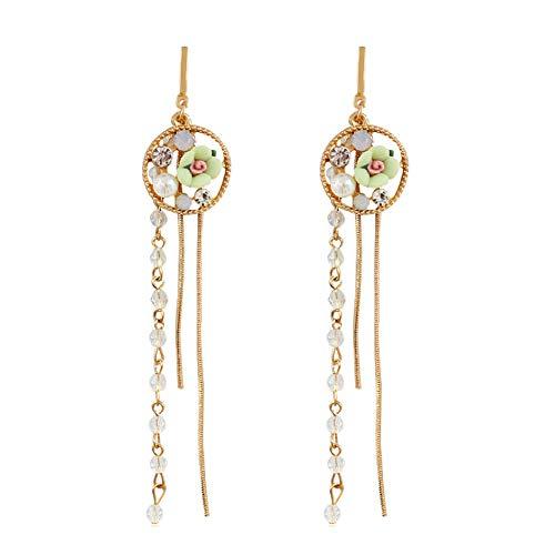 Profusion Cicle 1 Par De Pendientes De Gota De Borla Larga con Diamantes De Imitación para Mujer Verde