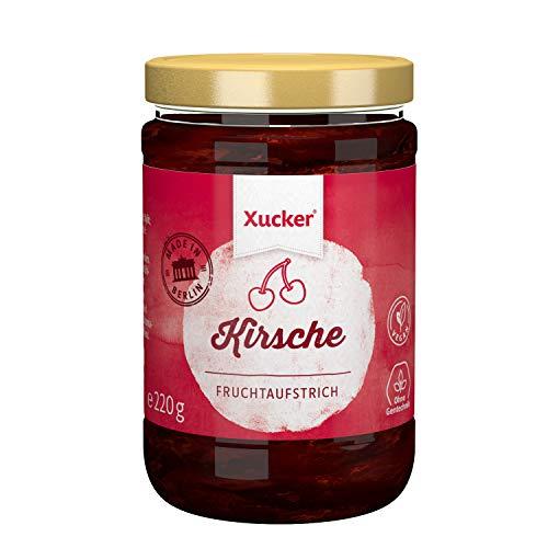 Kirsche Fruchtaufstrich mit Xylit | Fruchtiger Aufstrich von Xucker | für Diabetiker geeignet | Ohne Gentechnik | Vegan | 220 g Glas | 74 % Fruchtanteil