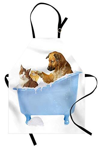 WELQUN Schürze Aprons Katze Schürze Hund Kitty In Der Badewanne Zusammen Mit Blasen Shampoonieren Duschen Spaß Artsy Männer Frauen Kinder Küche Pinafore