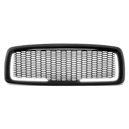 DNA Motoring GRF-LB-006-BK-1 Glossy Mesh Front Bumper Grille Grill w/LED DRL Replacement