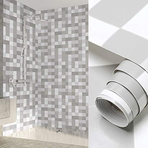 KINLO Mosaik Folie 60 x 500 cm Klebefolie Selbstklebende Mosaikflisen Fliesenfolie Spritzschutz Folie Oberflächenschutz für Badzimmer Küche Möbel Wasserdicht -Grau