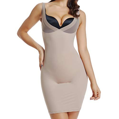 Full Slips for Women Under Dresses Shapewear Tummy Control Dress Slip Seamless (Beige, M)
