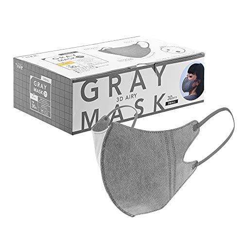 プラスライフ 不織布マスク カラーマスク スポーツマスク型 個包装 30枚 グレー 小さめ 通気性 耳が痛くなりにくい 使い捨て