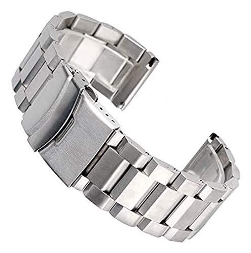 WSYGHP Bandas de Reloj de Acero Inoxidable Plata 18/20/22 / 24mm Reemplazos de Cierre Plegable Reemplazos de Reloj Metal Correa de Reloj Correa de Reloj Oro Rosa (Color : Silver, Size : 18mm)