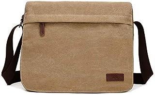 DIEBELLAU Washed Canvas Retro Fan Men and Women Shoulder Messenger Bag Fashion Computer Bag Trend Boutique Casual Bag (Color : Khaki)