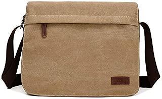 Washed Canvas Retro Fan Men and Women Shoulder Messenger Bag Fashion Computer Bag Trend Boutique Casual Bag (Color : Khaki)