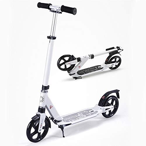 QWET El Scooter para Adultos Es Una Bicicleta Plegable De AleacióN De Aluminio con Ajuste De Altura De Tres Velocidades Y DiseñO De Doble AbsorcióN De Impactos,Blanco