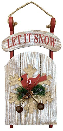 Clovers Garden Christmas Hanging Sleigh Wall or Door Decor - Rustic Wooden Holiday Sled Indoor Decoration – Hand Painted Vintage Farmhouse Decorative Welcome Sign for Home or Office (Let it Snow)
