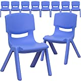 Flash Furniture 10 Pk. Blue Plastic Stackable School Chair with 10.5'' Seat Height