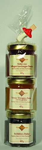 Streuobstwiesle Gourmet Geschenk Set 3er Minis Marmeladen, Konfitüren und Gelees