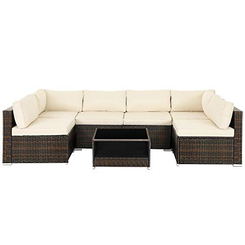 SONGMICS 7-Piece Patio Furniture Set, Outdoor Sectional Sofa Couch, Handwoven PE Wicker Rattan Patio Conversation Set, with Cushions and Glass Table, Brown and Beige UGGF007M01