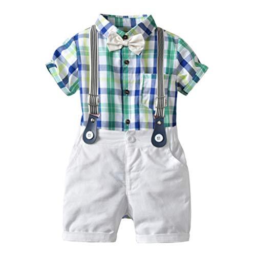 PROTAURI Baby Jungen Anzug 3 Stücke Kurzarmhemd für Kleinkinder + Trägerhose + Fliege Overalls Kleidung Set für Party, Hochzeit, Schultag