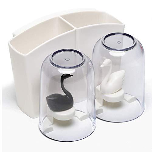 ZXL Zahnbürstenhalter Multifunktions-Saugwand-Zahnbürstenhalter Badezimmer Zahnbürstenhalter Lochfreies Badezimmerregal Zahnpastahalter Zahnbürstenhalter (Farbe :),Weiß