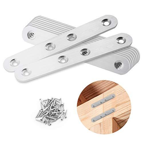 10 Stücke Lochplatte Flachverbinder, Edelstahl Flache Ecke Bracket, Ausbessern Flat Plate Bracket mit 50 Stück Schrauben für holz und möbel (124x20x2.32mm)