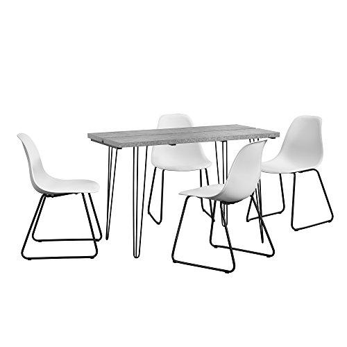 Eethoek - eettafel - hairpin poten - betonlook + 4 stoel - wit