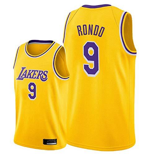SHR-GCHAO Maglia Uomo, NBA Lakers 9# Jersey di Pallacanestro Rondo dei Nuovi Uomini di Ricamato Tessuto Jersey Shirt, Unisex Senza Maniche Vest,S(165~170cm)
