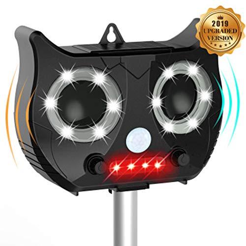 GXLO Katze abweisend, Ultraschall Tier Repeller IP67 wasserdicht, Outdoor Solar batteriebetriebene Tier Repellers, LED Blitzlicht & Ultraschall-USB wiederaufladbar,Black,22x16x8cm